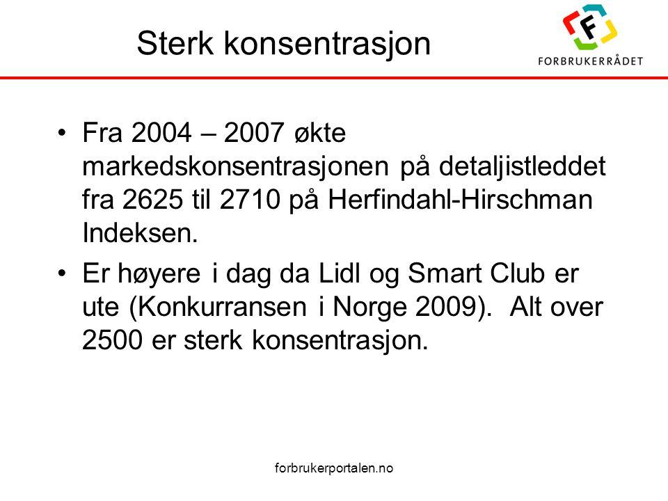 Sterk konsentrasjon Fra 2004 – 2007 økte markedskonsentrasjonen på detaljistleddet fra 2625 til 2710 på Herfindahl-Hirschman Indeksen.