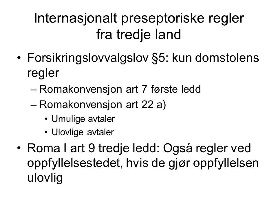 Internasjonalt preseptoriske regler fra tredje land