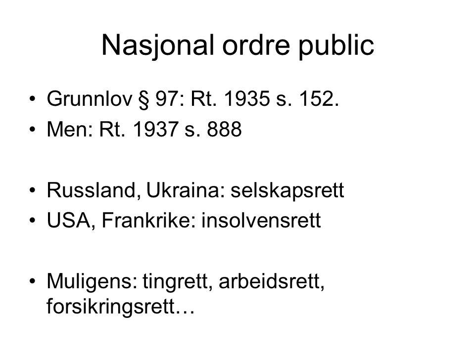 Nasjonal ordre public Grunnlov § 97: Rt. 1935 s. 152.