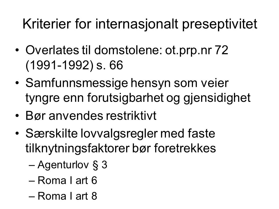 Kriterier for internasjonalt preseptivitet