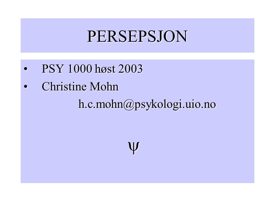 PERSEPSJON PSY 1000 høst 2003 Christine Mohn h.c.mohn@psykologi.uio.no