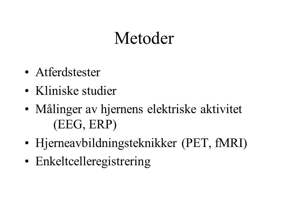 Metoder Atferdstester Kliniske studier
