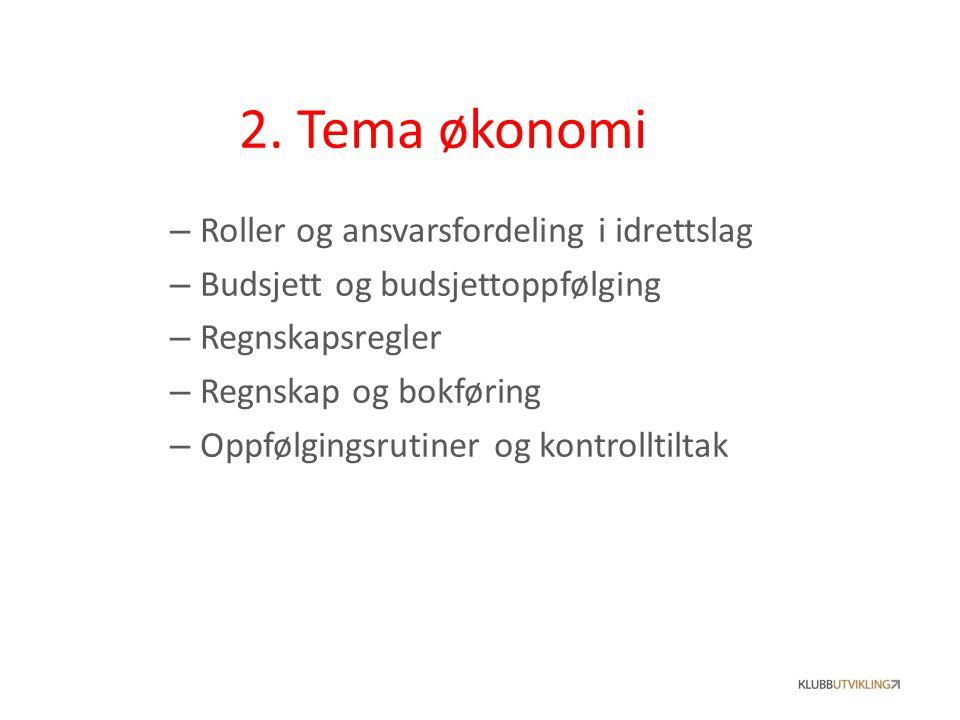 2. Tema økonomi Roller og ansvarsfordeling i idrettslag