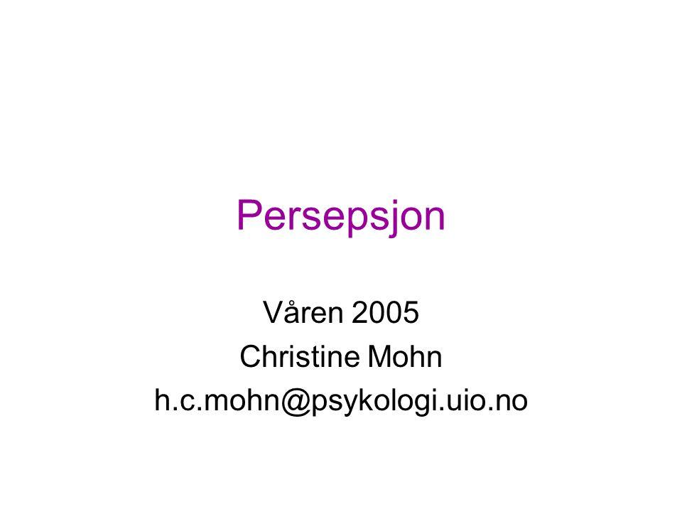 Våren 2005 Christine Mohn h.c.mohn@psykologi.uio.no