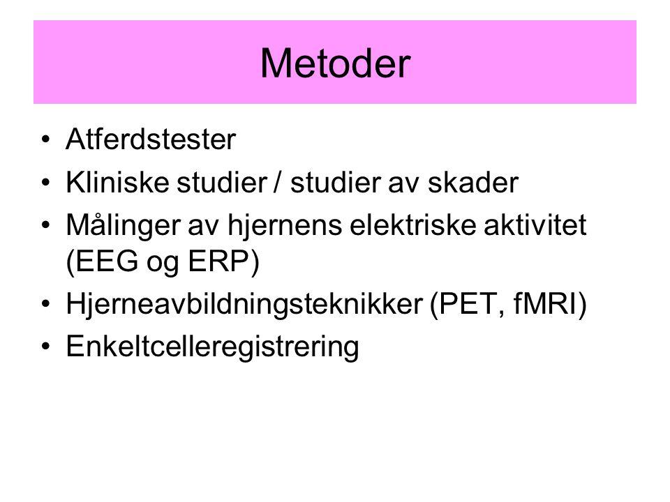 Metoder Atferdstester Kliniske studier / studier av skader