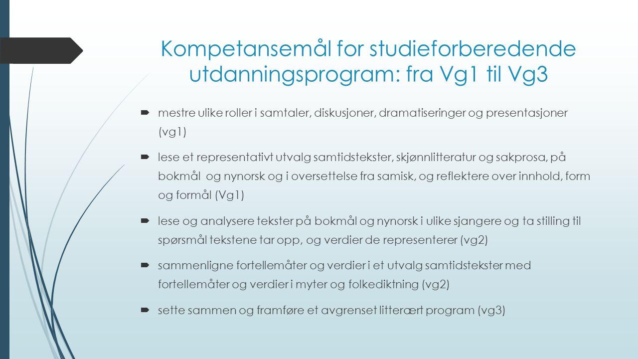 Kompetansemål for studieforberedende utdanningsprogram: fra Vg1 til Vg3