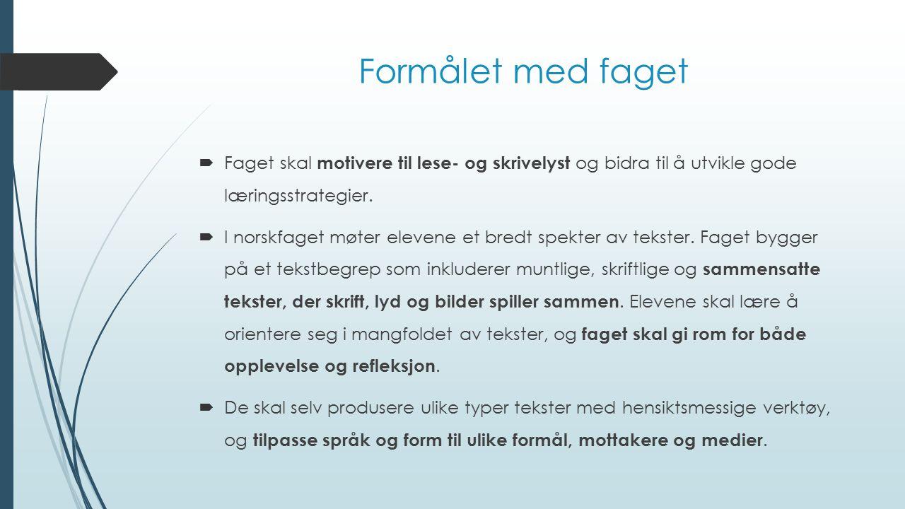 Formålet med faget Faget skal motivere til lese- og skrivelyst og bidra til å utvikle gode læringsstrategier.