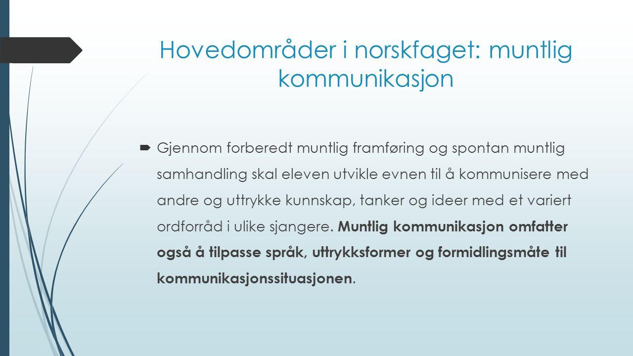 Hovedområder i norskfaget: muntlig kommunikasjon
