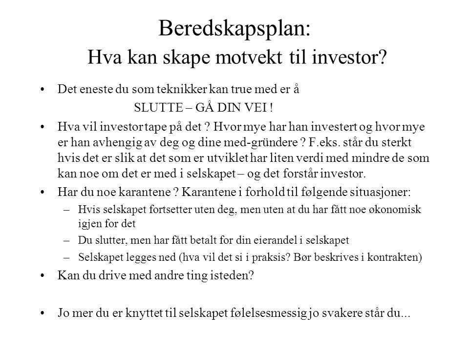 Beredskapsplan: Hva kan skape motvekt til investor