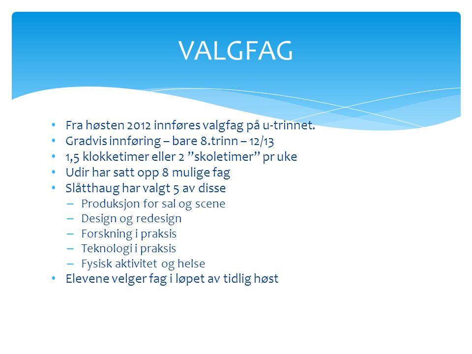 VALGFAG Fra høsten 2012 innføres valgfag på u-trinnet.