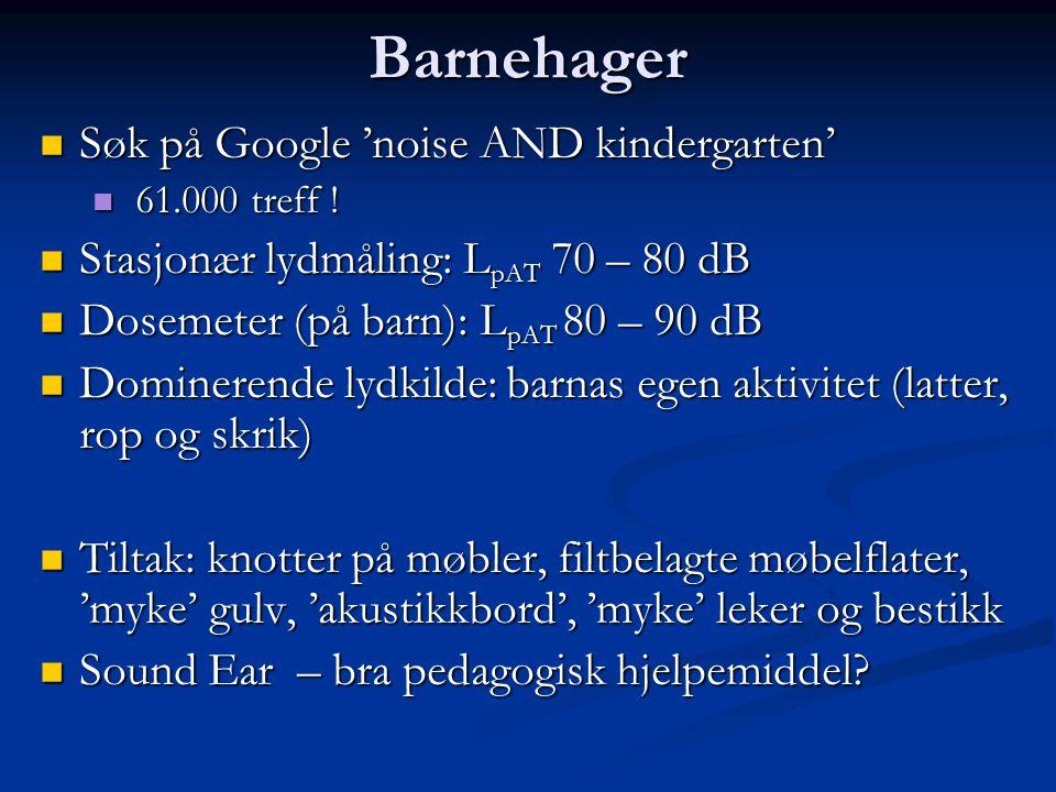 Barnehager Søk på Google 'noise AND kindergarten'