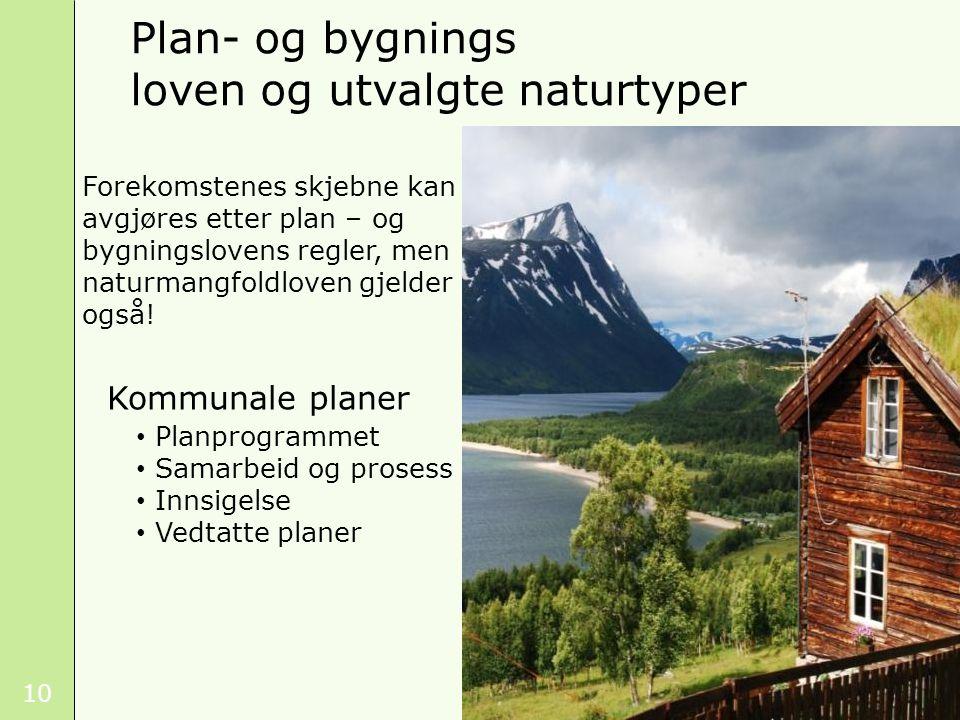 Plan- og bygnings loven og utvalgte naturtyper