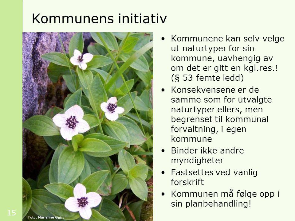 Kommunens initiativ Kommunene kan selv velge ut naturtyper for sin kommune, uavhengig av om det er gitt en kgl.res.! (§ 53 femte ledd)