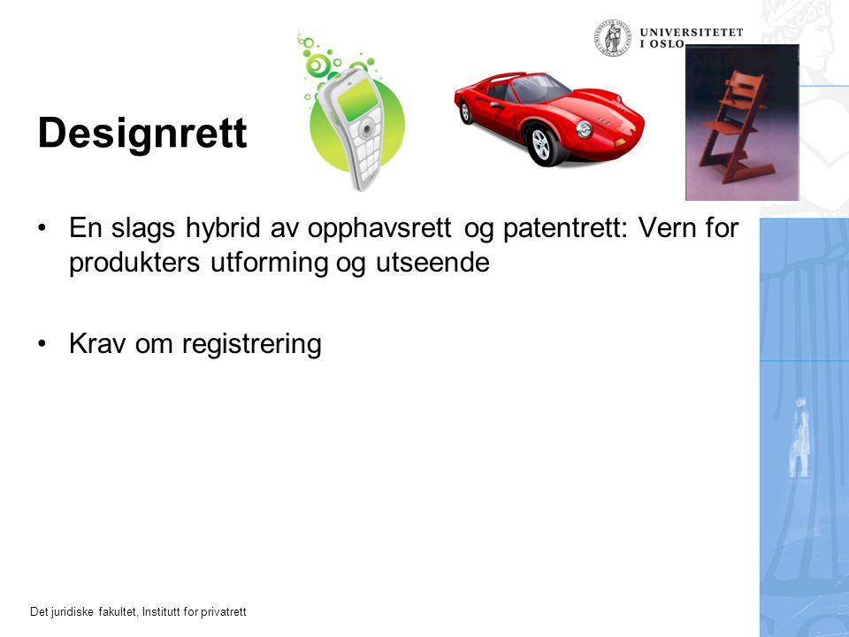 Designrett En slags hybrid av opphavsrett og patentrett: Vern for produkters utforming og utseende.