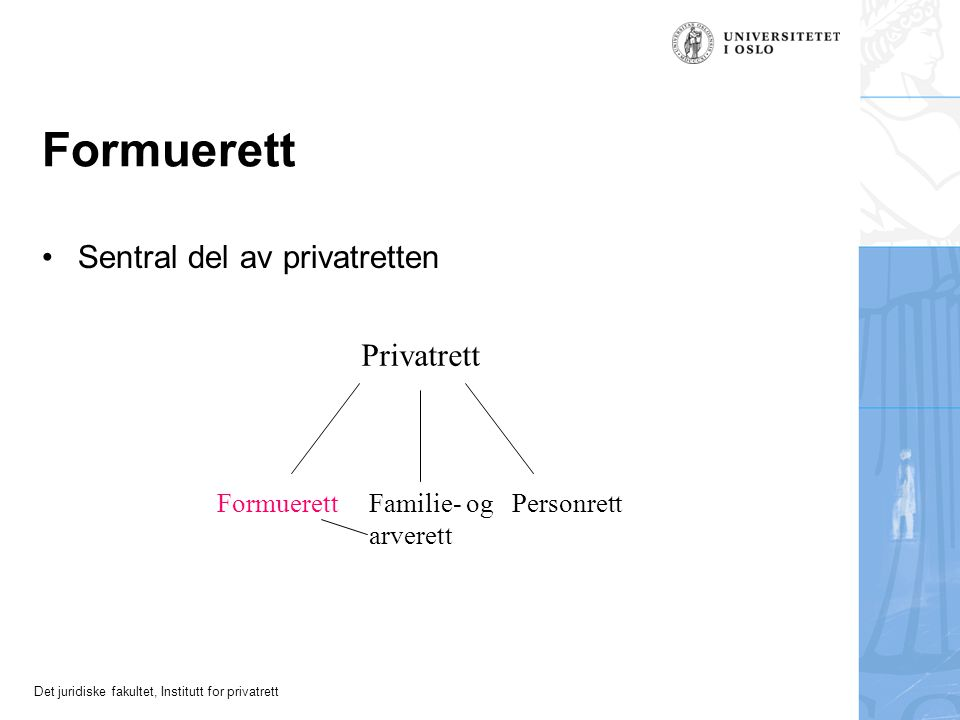 Formuerett Sentral del av privatretten Privatrett Formuerett