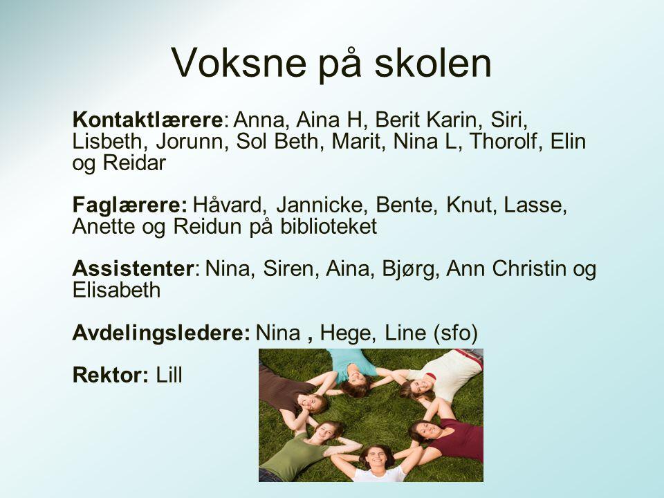 Voksne på skolen Kontaktlærere: Anna, Aina H, Berit Karin, Siri, Lisbeth, Jorunn, Sol Beth, Marit, Nina L, Thorolf, Elin og Reidar.