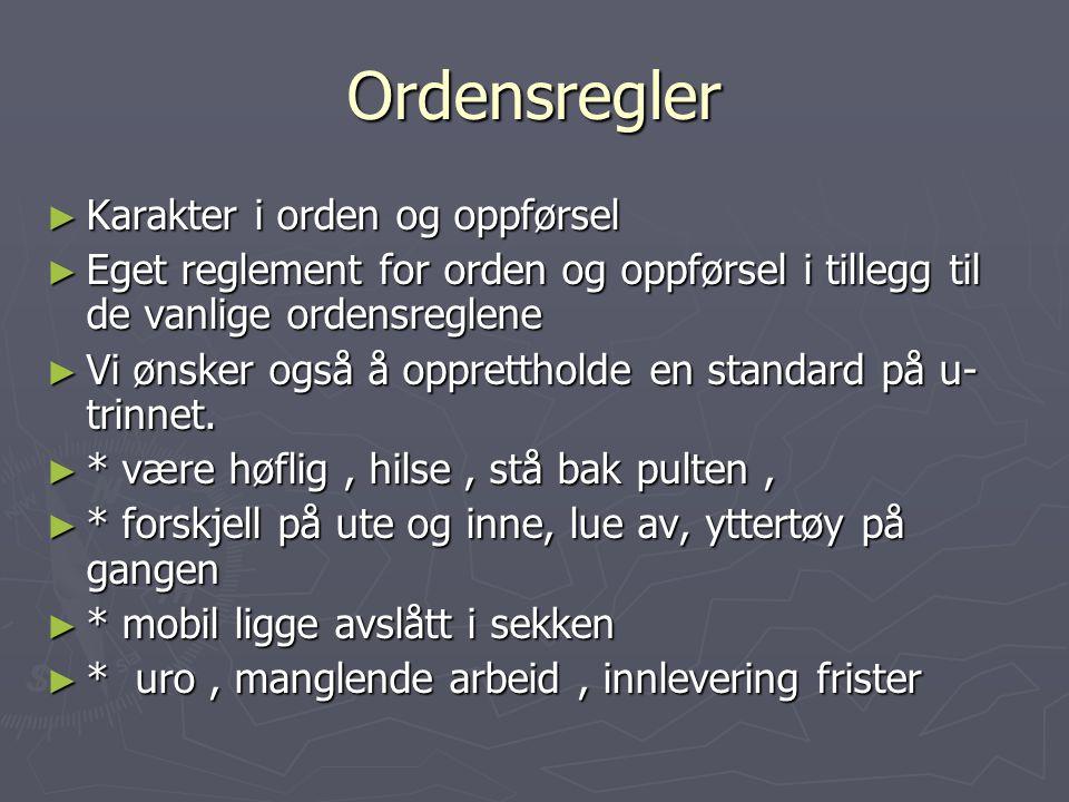 Ordensregler Karakter i orden og oppførsel