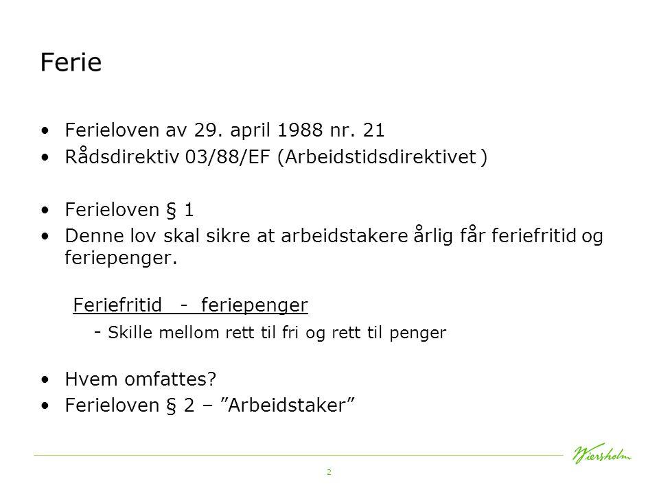 Ferie Ferieloven av 29. april 1988 nr. 21