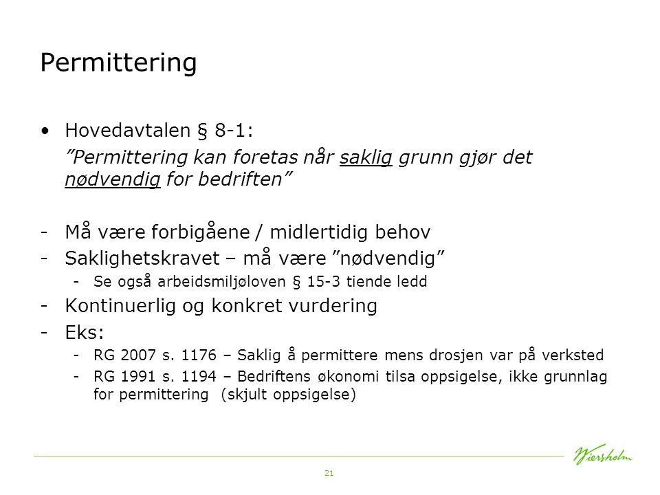 Permittering Hovedavtalen § 8-1: