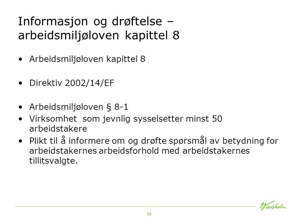 Informasjon og drøftelse – arbeidsmiljøloven kapittel 8