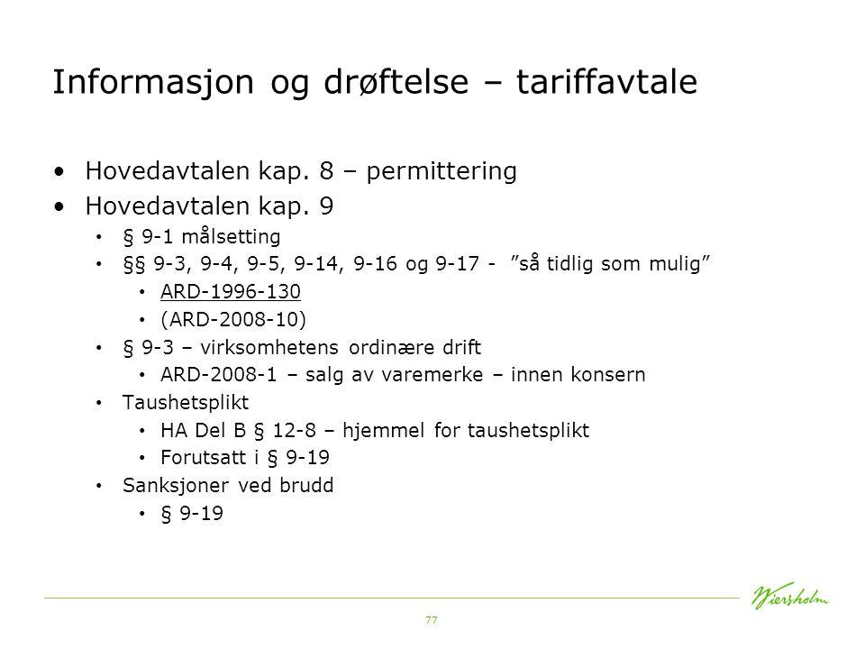 Informasjon og drøftelse – tariffavtale