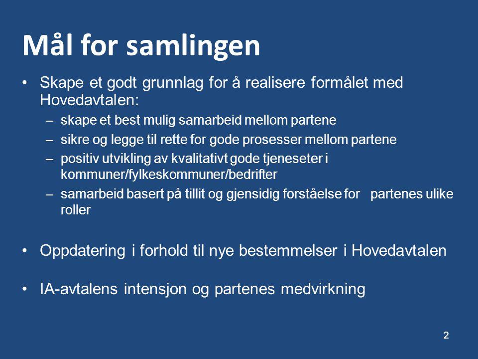 Mål for samlingen Skape et godt grunnlag for å realisere formålet med Hovedavtalen: skape et best mulig samarbeid mellom partene.