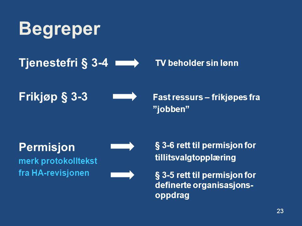 Begreper Tjenestefri § 3-4 Frikjøp § 3-3 Permisjon