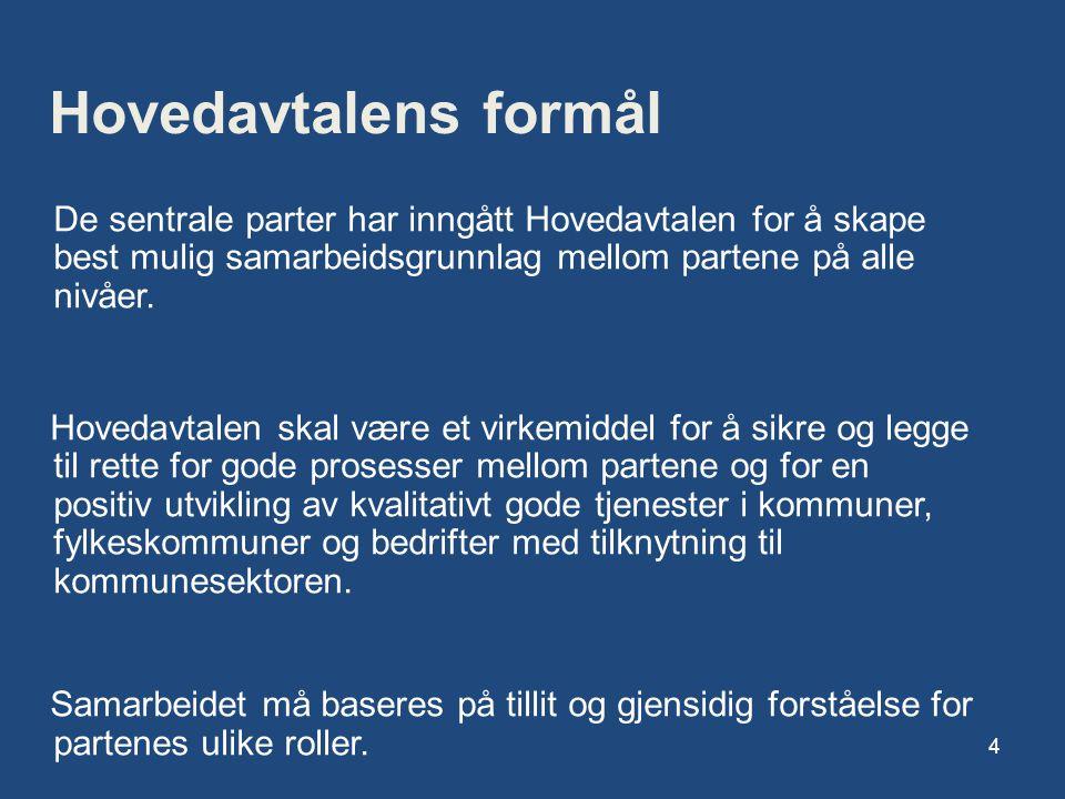 Hovedavtalens formål De sentrale parter har inngått Hovedavtalen for å skape best mulig samarbeidsgrunnlag mellom partene på alle nivåer.