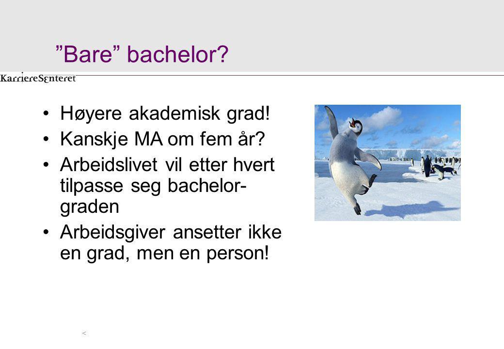 Bare bachelor Høyere akademisk grad! Kanskje MA om fem år