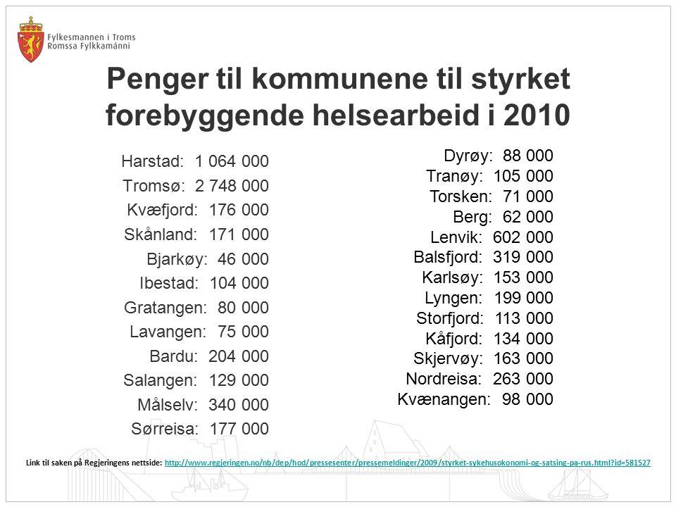 Penger til kommunene til styrket forebyggende helsearbeid i 2010