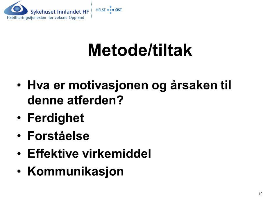 Metode/tiltak Hva er motivasjonen og årsaken til denne atferden