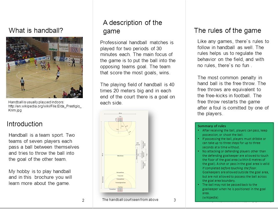 A description of the game What is handball The rules of the game