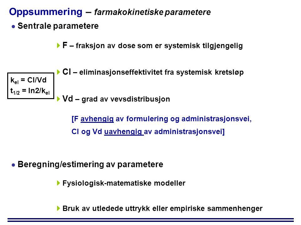 Oppsummering – farmakokinetiske parametere