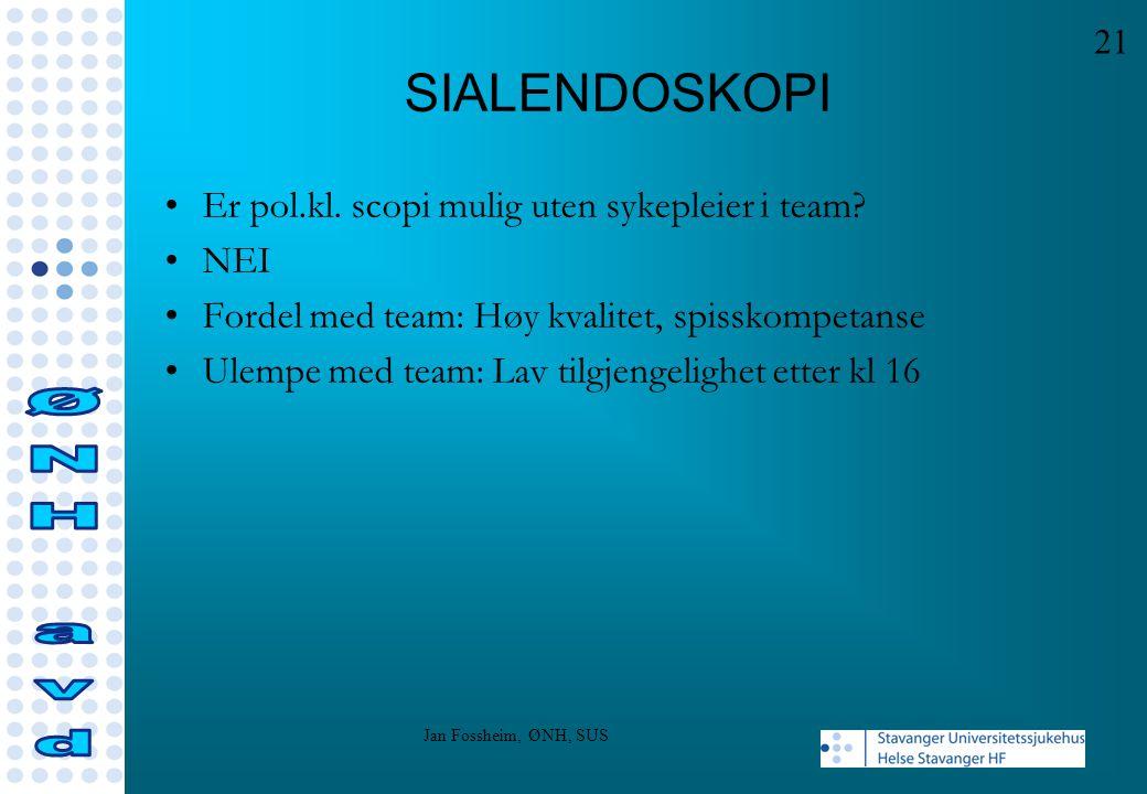 SIALENDOSKOPI ØNH avd Er pol.kl. scopi mulig uten sykepleier i team