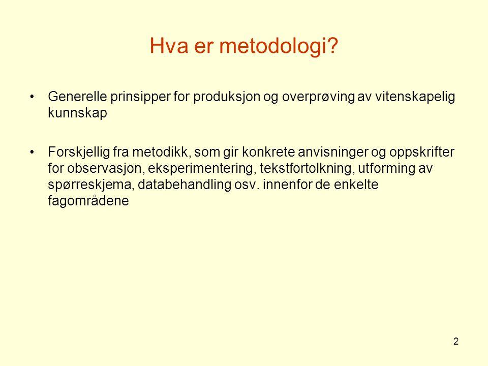 Hva er metodologi Generelle prinsipper for produksjon og overprøving av vitenskapelig kunnskap.