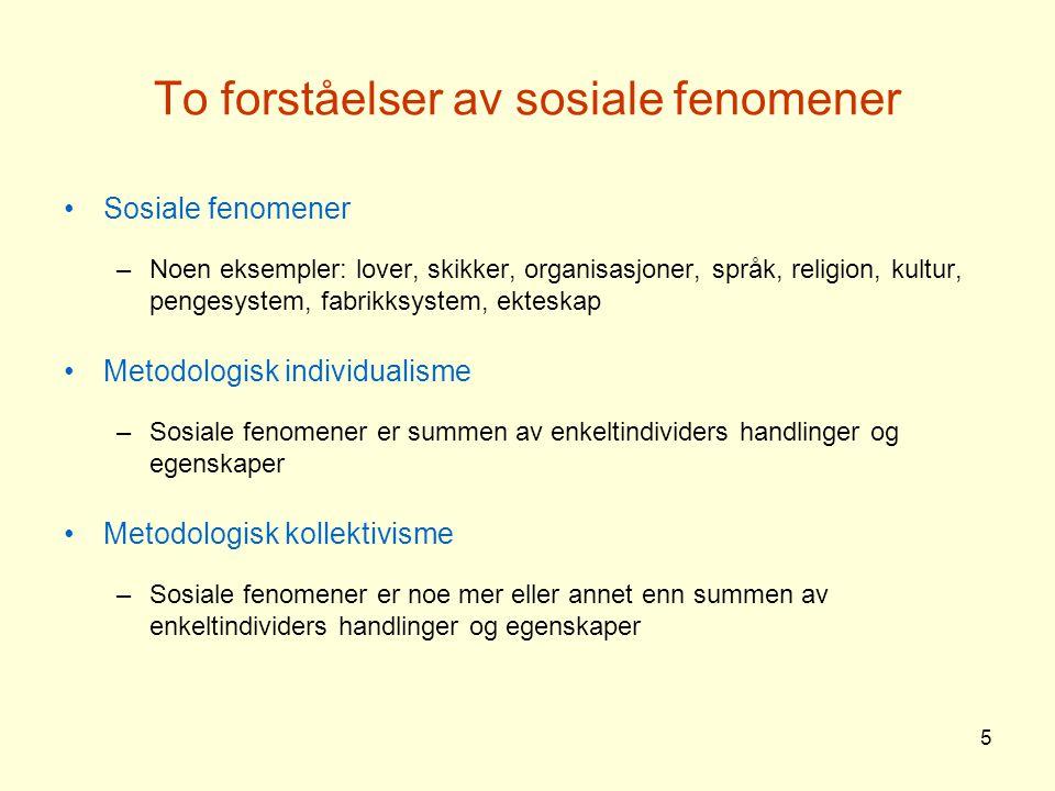 To forståelser av sosiale fenomener