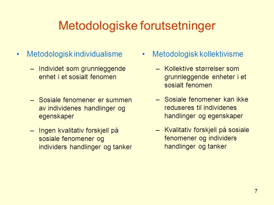 Metodologiske forutsetninger