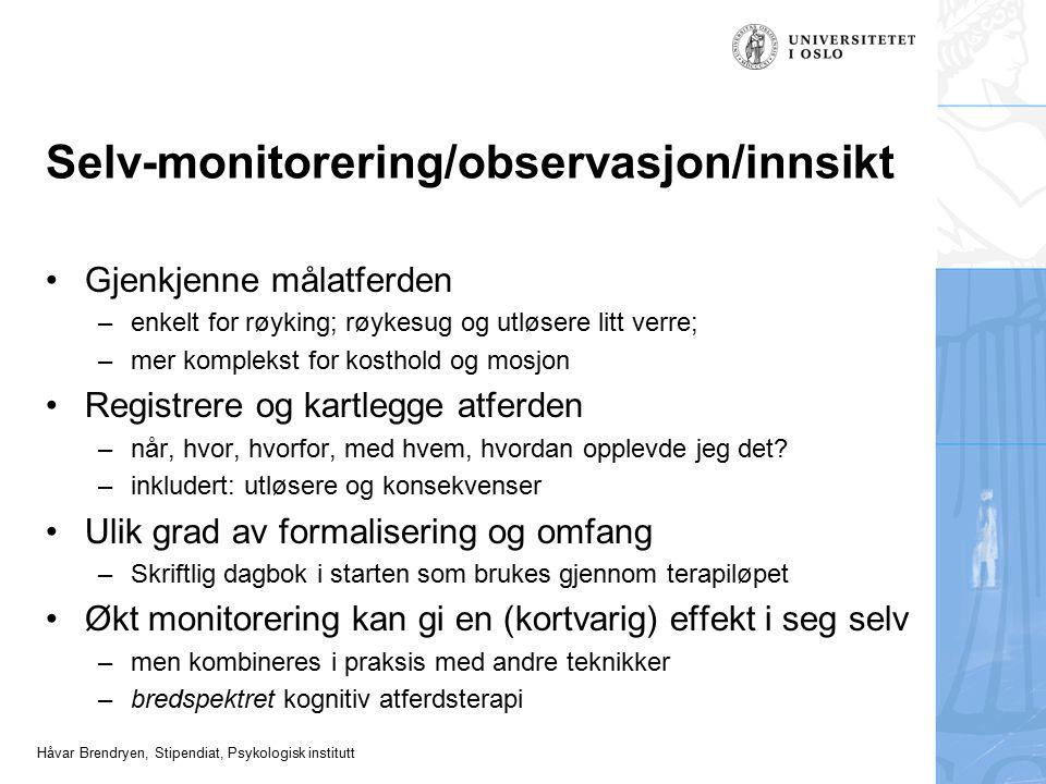 Selv-monitorering/observasjon/innsikt