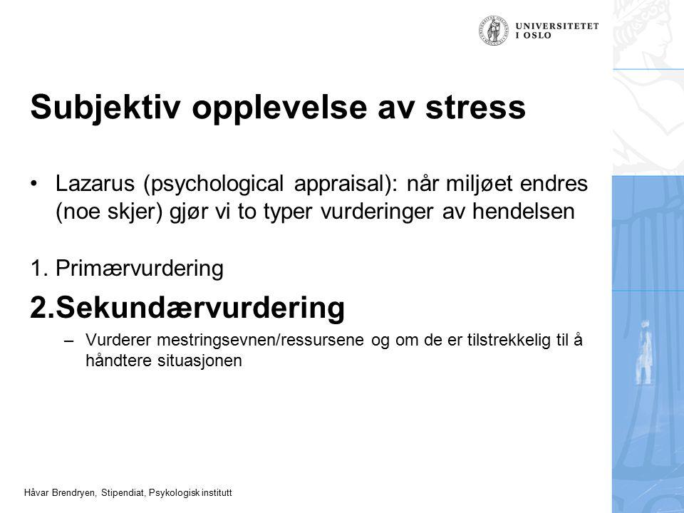 Subjektiv opplevelse av stress