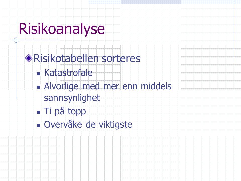 Risikoanalyse Risikotabellen sorteres Katastrofale