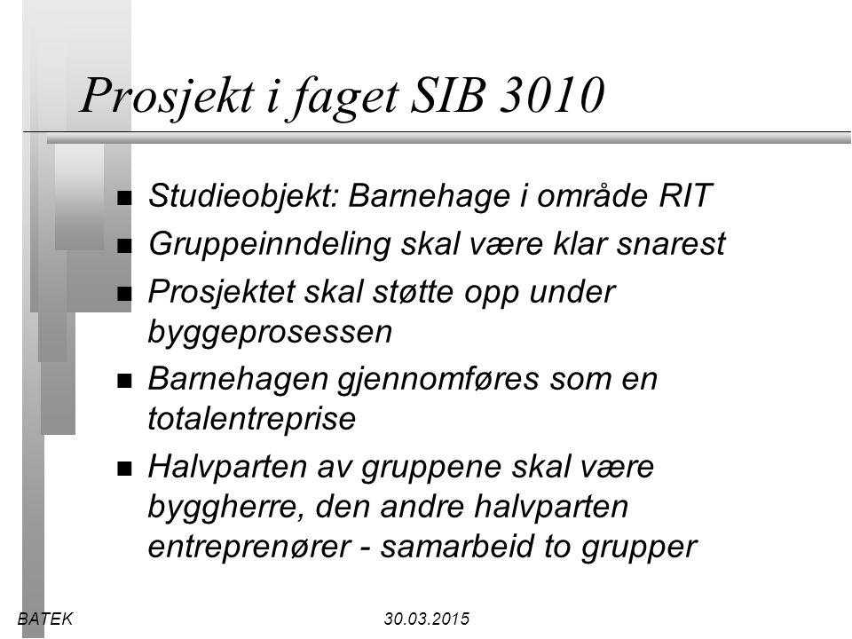 Prosjekt i faget SIB 3010 Studieobjekt: Barnehage i område RIT