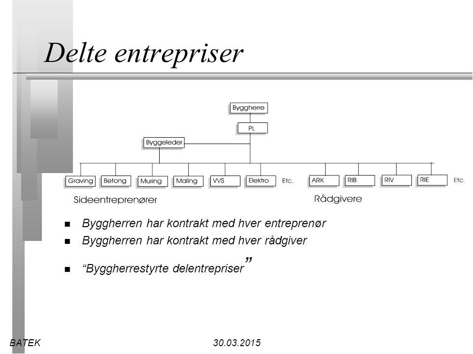 Delte entrepriser Byggherren har kontrakt med hver entreprenør