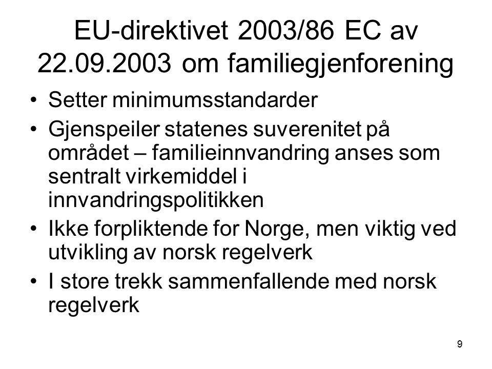EU-direktivet 2003/86 EC av 22.09.2003 om familiegjenforening