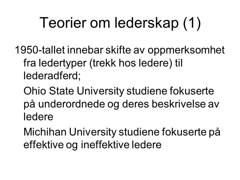 Teorier om lederskap (1)