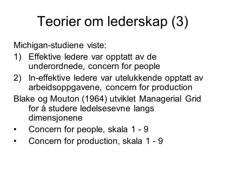 Teorier om lederskap (3)
