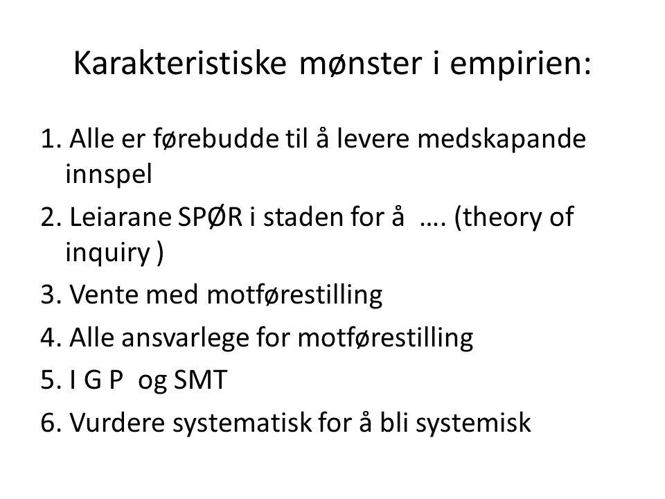 Karakteristiske mønster i empirien: