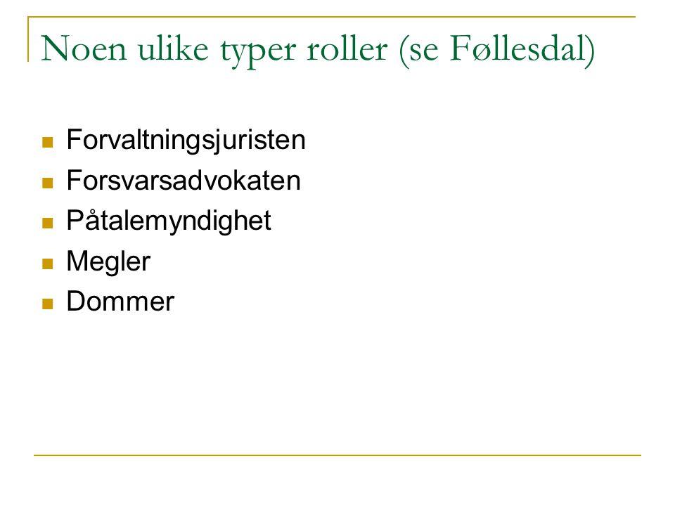 Noen ulike typer roller (se Føllesdal)