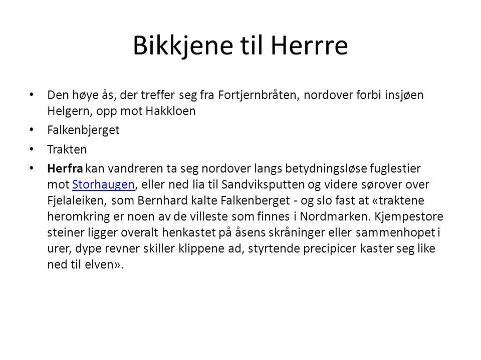 Bikkjene til Herrre Den høye ås, der treffer seg fra Fortjernbråten, nordover forbi insjøen Helgern, opp mot Hakkloen.