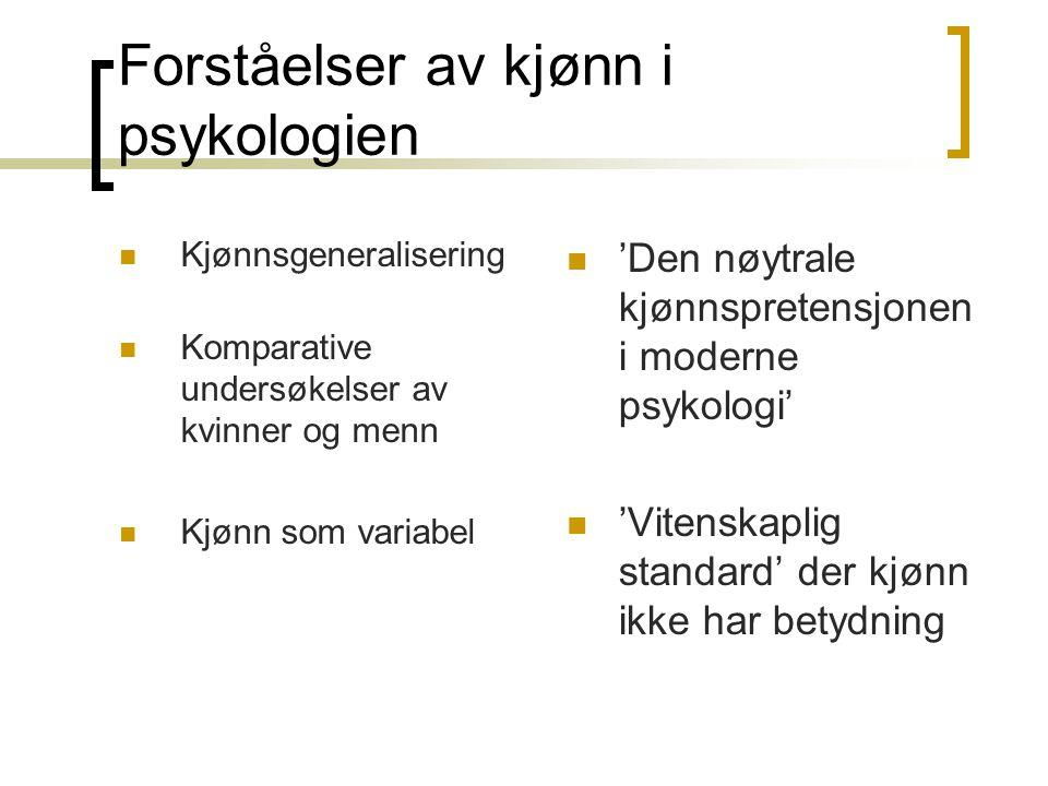 Forståelser av kjønn i psykologien