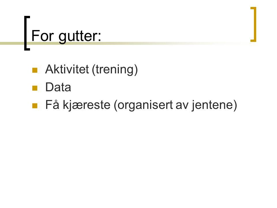 For gutter: Aktivitet (trening) Data